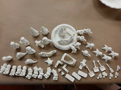 Lot of 56 Skating Christmas Figurines Ceramic Bisque U Paint