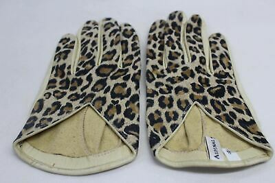 ASPINAL OF LONDON Ladies Short Leather Leopard Print Dress Beige Gloves 8 NEW