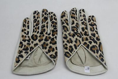 ASPINAL OF LONDON Ladies Short Leather Leopard Print Design Beige Gloves 6.5 NEW