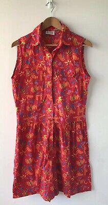 JUMPSUIT Size L 1980s Red Cotton Tribal / Africa Print Cotton New Wave Eighties