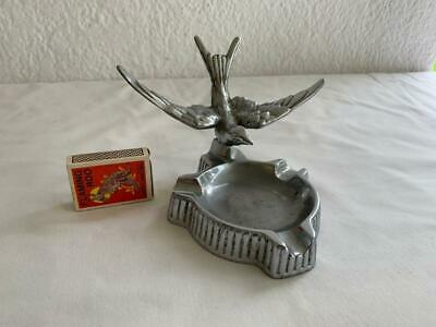 Collectable Vintage Art Deco Chrome Ashtray Screw On Top Swallow Flying Bird