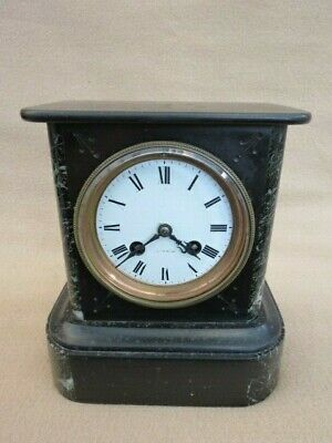 Small Antique French Black Slate And Marble Mantel Clock