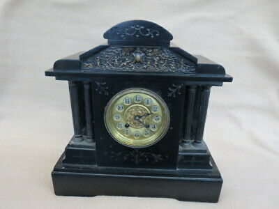 Large Antique German Hac Striking Black Slate Mantel Clock