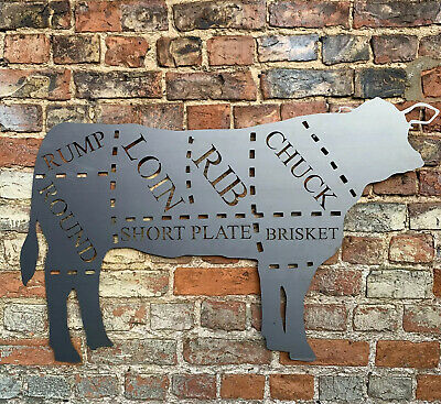 """Enamel No.628 /""""BEEF CUTS/"""" Metal Sign Cooking Meat Kitchen"""