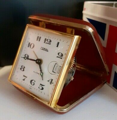 Antique Red Leather Coral Travel Alarm Clock