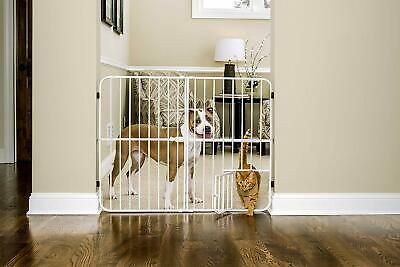 Pet Baby Gate Doorway Stair Extra Tall Metal Expandable Gate Safe Secure White