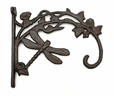Cast Iron Rustic Brown Dragonfly Plant Hanger Hook, Bracket Style Plant Hook