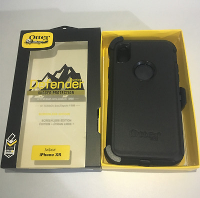 """Brand New OtterBox Defender Series Black Case For iPhone XR 6.1"""" (with Holster)"""