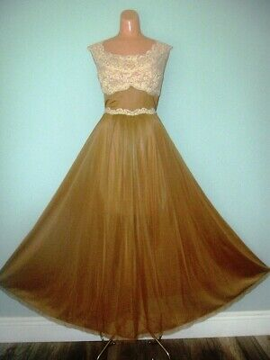 Vtg Vanity Fair Mocha Nylon Water Sheer Nightgown 38-40 Cream Lace Bodice L