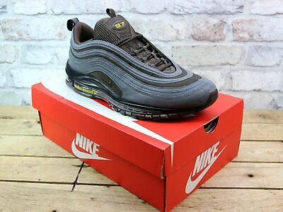 Mens Nike Air Max 97 Grey Leather Look Retro Sport Sneakers Trainers Size Uk 10