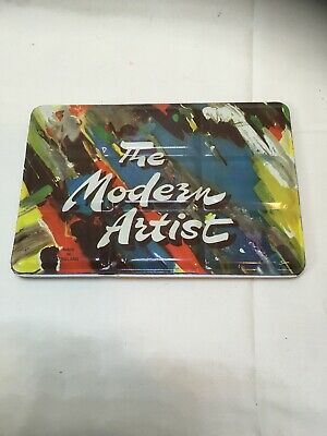 "Vintage ""The Modern Artist"" England Watercolor Tin Palette Colorful Hinged Case"