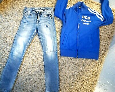 H&M Jeans Jungs Skinny Fit Super Soft 164 schlank + Hollister Sweat Jacke in S