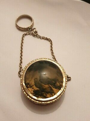 ANTIQUE chatelaine Sterling Silver Goldwashed Fob Box Salaman Agate Lid