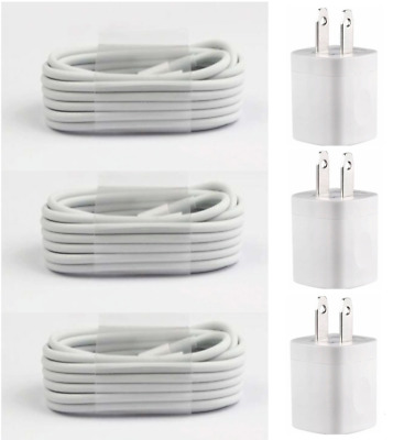 3X White Home Wall AC Charger + 6FT USB Cable Cord for iPhone 5s 6 7 8 X 11