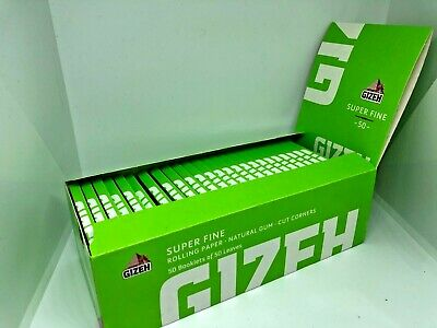 New Gizeh Fine Rolling Papers 50 Booklets Green Box 2500 Leaves 12G/m2 Slow Burn