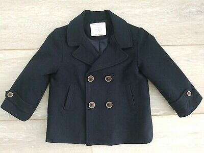 ZARA Baby Boy Outerwear Collection Navy Blue Pea Coat Jacket Size 12/18 Months