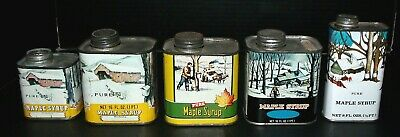 Five Vintage Small Maple Syrup Advertising Tins