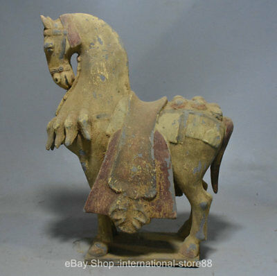 "17.6"" Rare Old Chinese Tang Sancai Ceramics Dynasty Palace Steed Horse Sculpture"