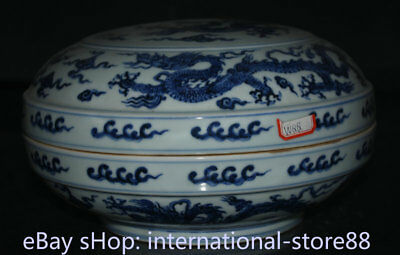 "10.4"" Old Chinese Blue White Porcelain Dynasty Palace Dragon Round Jewelry box"