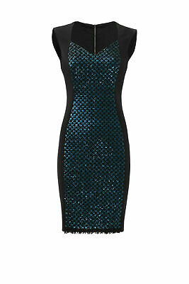 Elie Tahari Black Women's Size 10 Sequin V-Neck Contrast Sheath Dress $468- #451