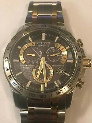 CITIZEN Perpetual Chrono A-T Black Dial Two-tone Men's Watch Item No. AT4004-52E