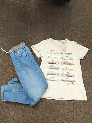 Next Fantastic Boys Elasticated Waisted Jeans & Car Patterned T-Shirt Age 5 Yrs