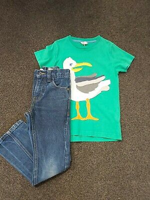 Mini Boden Fantastic Seagull Patterned Top & Next Straight Leg Jeans Age 6-7 Yrs