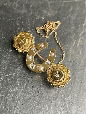 Antique Victorian Extra Large Gold Rose Cut Diamond Horseshoe Star Burst Brooch