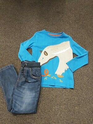 Mini Boden Fantastic Ardvark Patterned Top & Next Straight Leg Jeans Age 5-6 Yrs