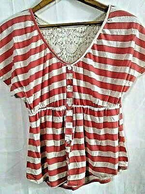 Red Camel Girls Short Sleeve Medium Top with Crocheted Back