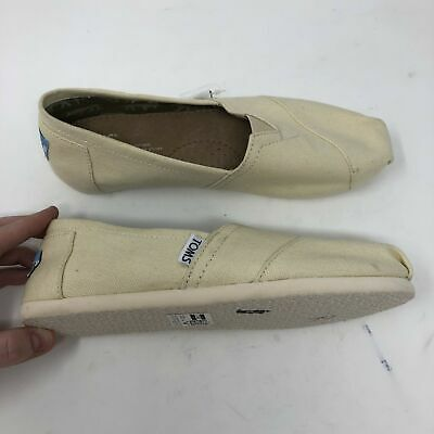 TOMS Canvas Slip On Classic Shoes Womens Size 6 Off White Casual Z