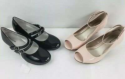 2 Pairs of American Eagle Dress Shoes Girls Youth Size 3 Black & Pink (A1)