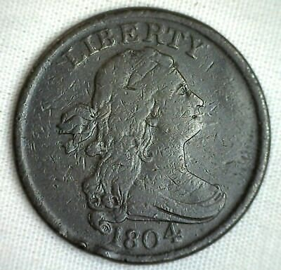 1804 1/2C Draped Bust Half Cent Copper Coin Spiked Chin Variety Very Fine #M2 VF