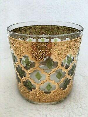 VTG CULVER VALENCIA TUMBLER GLASS 22 K Gold Green Diamond COCKTAIL MCM REGENCY