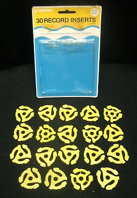 19 Vintage Yellow Plastic Adapters for 45 RPM Records. Snap-In Original Package