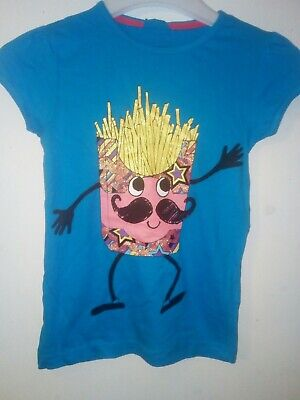 Bnwt Primark Young Dimension Girls Fries T-shirt Blue 7-8 Years 128cm