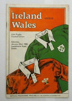 Ireland Wales Rugby Union Programme 1982