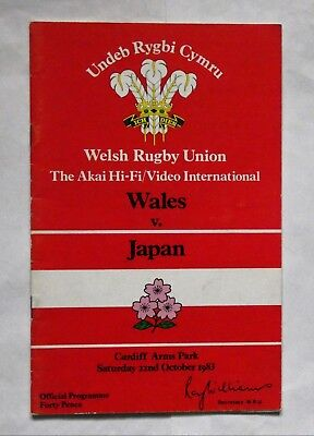 Wales Japan Rugby Union Programme 1983