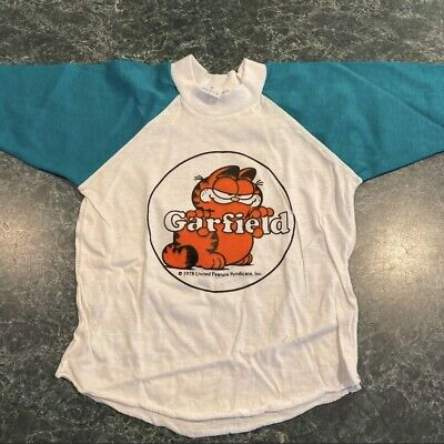 Vintage 1978 Garfield Long Sleeve Tee Green & White Toddler Sz. 4T NEW OLD STOCK