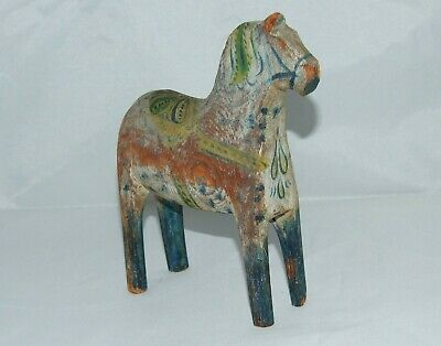 Swedish Wooden Handpainted Dala Horse - Folk Art - Early 20Th Century 17 Cm.