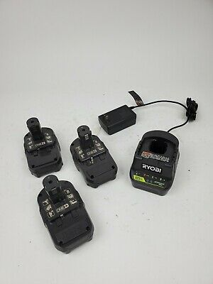 "Ryobi 18V Battery Kit 1X P118B Charger /& 2X P107 Batteries /& 10x8x6/"" Tool Bag"