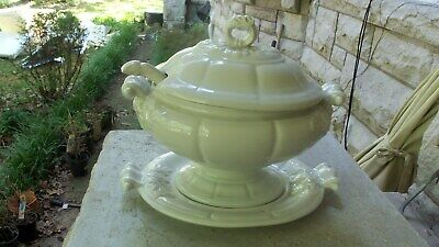 Large Vintage White Red Cliff Ironstone Oval Soup Tureen w/ Ladle Underplate