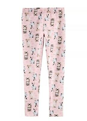 Carters Girls Leggings Pink Bunny Easter Dogs Cats Print Size 12 Years