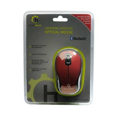 Gearhead 3 Button Bluetooth Wireless Optical Scroll Mouse - Red - Mbt9650Red