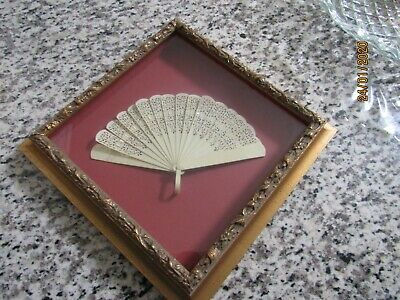 Vintage Ivoroid Early Plastic  Framed ( Shadow Frame)  Hand Fan