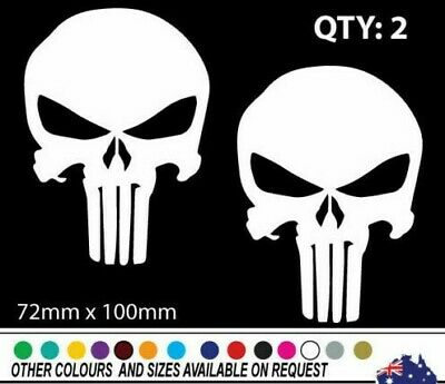 """2 QTY PUNISHER LOGO JUSTICE LEAGUE DECAL STICKER VINYL WALL LAPTOP CAR 4.5/"""""""
