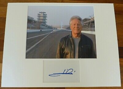 MARIO ANDRETTI-Hand Signed Card is Presented With A Photo-Mounted & Matted,COA