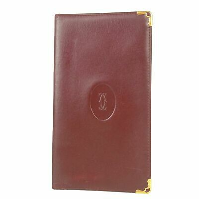 Auth Cartier must Logos Leather Agenda Daily Planner Address Book Cover 10168b