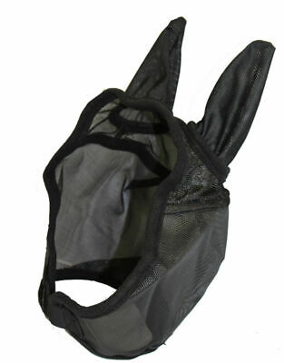 Deluxe Horse Fly Mask with Ears Heavy Duty Nylon Mesh Black S M L XL