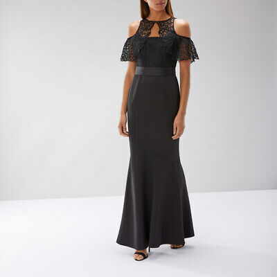 Ex Coast Petra High Neck Lace Maxi Dress Size 6-10